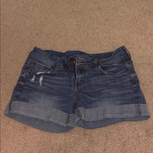 Cuffed lightly destroyed jean shorts
